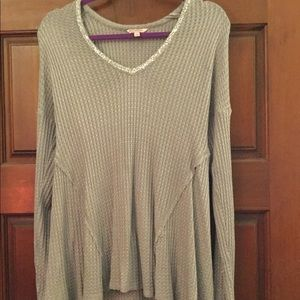 Grey and silver long blouse.